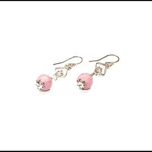 *Brand New*Rhodonite and Sterling Silver Earrings